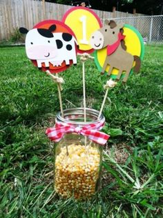 Farm/Barnyard Centerpieces, I will rather do them with sunflowers! Party Animals, Farm Animal Party, Farm Animal Birthday, Barnyard Party, Cowboy Birthday, Farm Party, 1st Boy Birthday, 3rd Birthday Parties, Cowboy Party