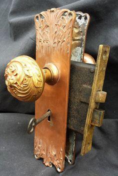 Antique Eastlake Door knob & Lock Set * Beautiful Working Complete ...