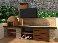 Patio Grill, Diy Grill, Barbecue Grill, Back Garden Landscaping, Ideas Terraza, Barbecue Design, Bbq Kitchen, Concrete Kitchen, Bbq Area