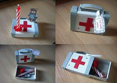 a small doctor suitcase out of a matchbox. its filled with a little doctor teddy and a candle...you can stick them into the box and give it to someone who is sick, so he has a nice view and gets healthy fast ;-):