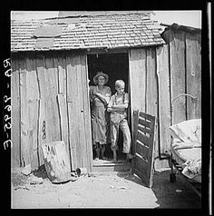 People living in miserable poverty, Elm Grove, Oklahoma County, Oklahoma. August 1936. Photographer: Dorothea Lange.