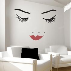 Beautiful Face Wall Decal with Dark Red Lips. Select your own lip color! From Wall Decal World