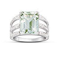 Sheer Radiance Green Amethyst & Diamond Ring