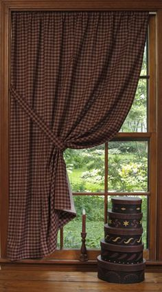 Prim checked curtains make for a great window treatment.... with added prim touches...