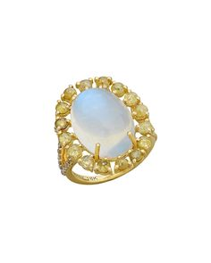 Rainbow Moonstone & Diamond Oval Ring, Size 7, yellow - Bavna