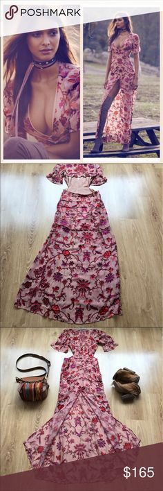 """FLL SAFFRON MAXI DRESS IN SUNSET FLORAL XS S M L WEEKEND SALE!!! NWOT. PRICE IS FIRM. 💯 authentic. Pls check my ratings and buy with confidence. VERY few left. Model is 5'6"""", 34C, 27""""waist, she wears S. this gorgeous silk satin floral burnout features a plunging neckline, an open back, and a front slit to give your legs the love they need.   below measurements are in cm.                                                          XS: chest 84 waist 66  S: chest 88 waist 70  M: chest 92 waist…"""