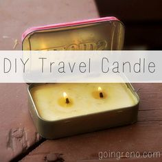 Turn an Altoids tin and candle remnants into a cool little travel candle that will freshen up your hotel room (and call your muse, if that's your thing!)