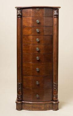 Armoire Jewelry Cabinet Box Storage Chest Stand Mirror Organizer Walnut Wood New #LouisXVI