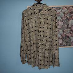 Next Original Collezione Uomo Beige Black Long Sleeve Geometric Shirt Size Large #NextOriginal #ButtonFront