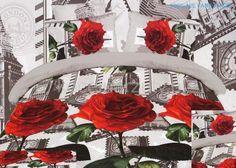 Pościele z mikrowłókna koloru szarego z różami