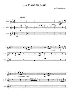 Sheet music made by awsom123445 for 3 parts: Flute, B Clarinet, Violin