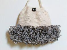 Crochet Purse Cheetah Print Ruffles Eggshell Cream by knitwhats