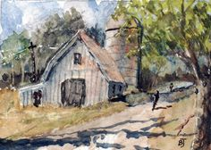 "ACEO Miniature Original Watercolor 2.5""X3.5"" Barn Landscape by Barry Jones #Miniature"