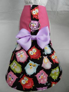 What a Hoot...Colorful OWL Harness Dress with Bow. Perfect Item for your Cat, Dog or Ferret. All Items Are Custom Made For Your Pet. on Etsy, $30.99