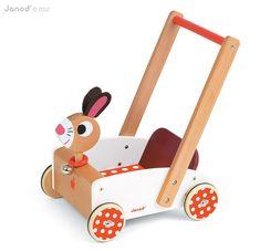 Holzspielwaren für Laufanfänger   Wunderschöner Lauflernwagen Hase aus Holz, von Janod