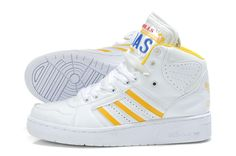 free shipping bd0ae d8dee Adidas Jeremy Scott Originals JS LICENSE PLATE White Yellow Shoes Yellow  Shoes, White Shoes