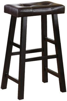 """Set Of 2  Espresso Faux Leather Solid Wood Bar Stool 29"""" Modern Furniture New  #Modern"""