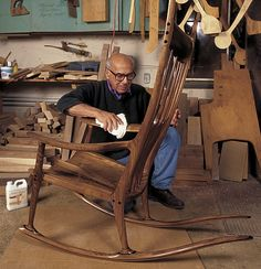 Sam Maloof with one of his amazing rocking chairs... His rocking chairs are in the White House and the Smithsonian...