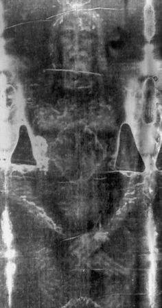 *SHROUD of TORIN~The burial is consistent w/ancient Jewish burial customs in all respects,including the use of cave-tombs, attitude of the body(hands folded over loins), +types of burial cloths. The Sindon(Shroud) enveloped the body.The Sudarium was a face-cloth used to cover the face out of respect during removal from the cross through entombment.It was then removed+placed to one side.There was also a chin-band holding the mouth closed.The Othonia were bandages used to bind the wrists.
