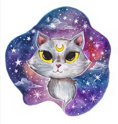 #illustration #watercolor #roxisillustration #universe #cats Universe, Watercolor, Photo And Video, Cats, Illustration, Instagram, Pen And Wash, Watercolor Painting, Gatos