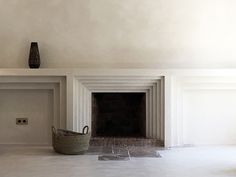 Ramon Llull / Complete refurbishment of a town house in Deia by MORE Design & Architecture - fireplace portal Fireplace Wall, Fireplace Surrounds, Fireplace Design, Fireplace Mantels, Concrete Fireplace, Mantles, Fireplace Drawing, Simple Fireplace, White Fireplace