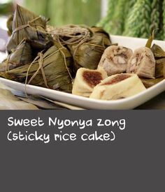 "Sweet Nyonya zong (sticky rice cake) | ""Zong, or Joong in Cantonese, is a pyramid-shaped glutinous rice cake or dumpling with Chinese origins. This particular recipe was taught to Mum by my paternal Grandma Mary Siew Lan Yeow, who was an amazing cook. She was Nyonya, which means she comes from a Chinese-Malay heritage, so all the Nyonya dishes in my family come from her."" Christina Yeow, Poh & Co."
