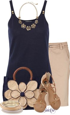 """Khaki and Blue"" by jackie22 on Polyvore"