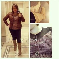 #ChubbyChique 10-17-2014 Brown faux leather jacket by #Guess , oxblood and black mesh sweater by Anama, dark denim leggings, black tank and black gem earrings by #ExpressFashion , tan low wedge boots by #SteveMadden , black double pendant necklace via #NadineWest