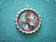 Frozen Anna close up bottle cap pendant on silver by indieodyssey, $5.00