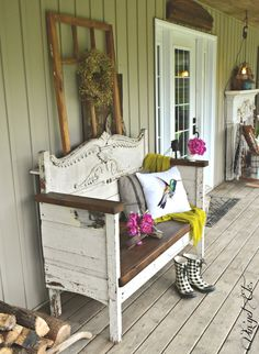 Rustic headboard bench on a front porch... love the white with the darker wood! Gorgeous! By Vin'yet Etc