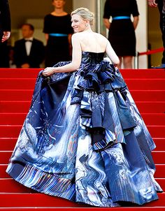 Cate Blanchett The Oscar winner attended the Carol premiere during the the 68th annual Cannes Film Festival on May 17, wearing a strapless blue and black gown featuring an elaborate tiered and ruffled train.