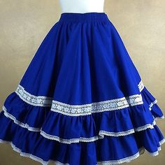 Square-Dance-Partners-Please-Malco-Modes-Blue-w-White-Lace-Ruffled-Skirt-Medium