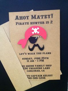 Boy Pirate with Eyepatch and Mustache Invitations Custom Made for Birthday Party or Baby Shower on Kraft Paper, Set of 8 Invites