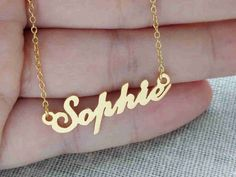 Dainty Name Necklace,Personalized Name Necklace, Gold Name Necklace,Custom Celebrity Necklace,Wedding Bridesmaids Necklace, Any Name Pendant  Personalized Name Necklaces 18K Gold Plated over 925 Sterling Silver - A special gift for you and your loved ones,They would be very surprise to see their name made it just for them. The gold name necklace can be personalized with any name.  All of my products are handmade.  Why buy from us? Quality Product At Affordable Prices 1.2mm Super Thickness…