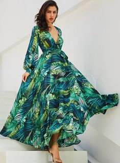 Chiffon Maxi Dress Long Sleeve V Neck Tropical Dress Leaf Print Fall Dress Chiffon Maxi Dress, White Maxi Dresses, Maxi Dress With Sleeves, Casual Dresses, Dresses Dresses, 1950s Dresses, Draped Dress, Floral Chiffon, Flower Dresses