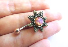 Pink Opal Starburst Belly Button Ring Navel by Azeetadesigns