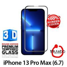 Brando Workshop Full Screen Coverage Curved 3D Glass Protector (iPhone 13 Pro Max (6.7)) - Black