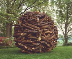 Andy Goldsworthy, one of Two Oak Stacks, 2003, two large balls of stacked and knitted oak sticks, Storm King Art Center, NY.