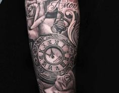 Black and Grey Tattoo Clock and Roses