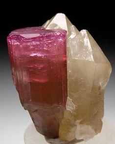 Elbaite on Quartz Male, near Mogok, Myanmar miniature - 4.4 x 3.0 x 3.0 cm