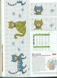 Gráficos Ponto Cruz ... Colorful cats, so nice