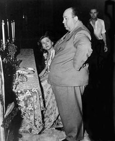 Alfred Hitchcock and Joan Fontaine on set of Rebecca