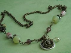 Metal Springtime Garden Jeweled Necklace by danasjewelryboutique, $26.00