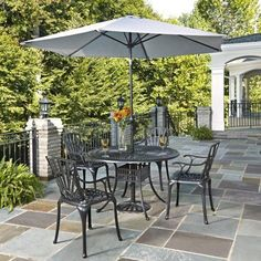 Home Styles Largo 5-Piece Dining Set with Umbrella and Cushions, Charcoal