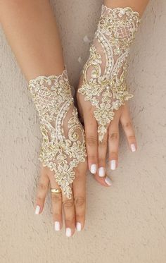 WEDDINGGloves  // Champagne Wedding Gloves  lace by WEDDINGGloves, $49.00