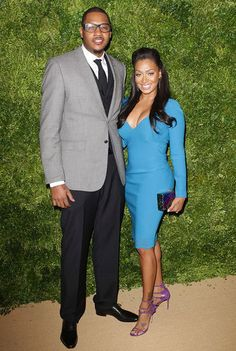 Carmelo Anthony and LaLa Anthony arrive at the 8th Annual CFDA & Vogue Fashion Fund Awards in NYC.