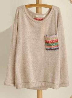 Print Pocket Long Sleeve Knit Top,  Sweater, Knit Top  Print Pocket Sweater  Patch, Chic
