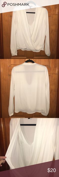Chiffon V-Neck Long Sleeve Long Sleeve off white Chiffon Shirt. Deep Drapey V neck with Underlay attached tank. Only worn once. Super cute! Forever 21 Tops