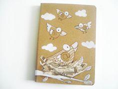 Riservato per Amanda, quaderni in carta di bamboo, decorati a mano, collage e inchiostro, GabLabmadeinItaly.etsy.com. #birds@ birds notebook# birds illustration#