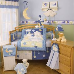 geenny boutique moon and star crib blue brown bedding set 113 00